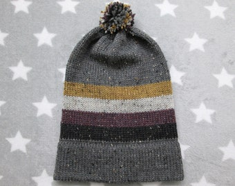 Knit Pride Hat - Nonbinary Pride - Grey Wool Tweed - Big Slouchy Beanie