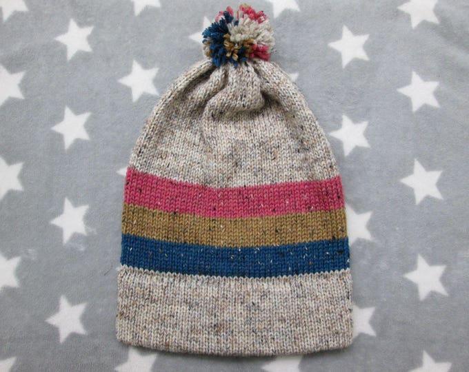 Knit Pride Hat - Pan Pride - Cream Wool Tweed - Big Slouchy Beanie