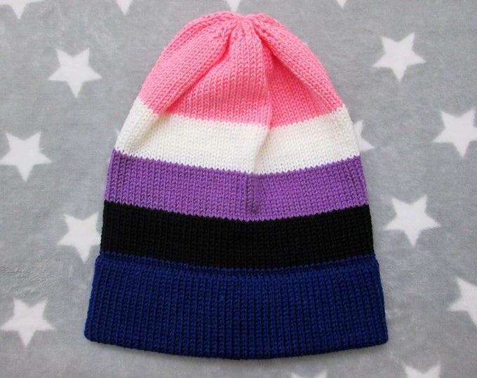 Knit Pride Hat - Genderfluid Pride - Slouchy Beanie - Acrylic