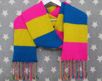Pansexual Pride Scarf - Soft Wool Acrylic Blend - Vivid Colors