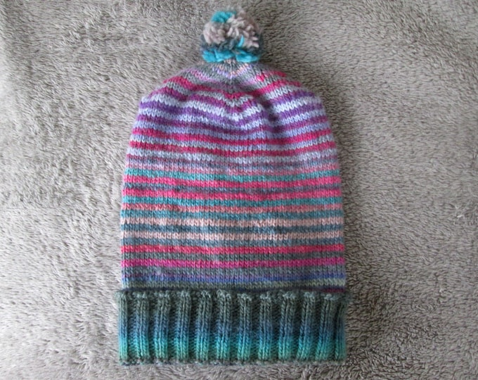 Knit Slouchy Hat - Quirky Gradients - Greens Purples Pinks - Wool