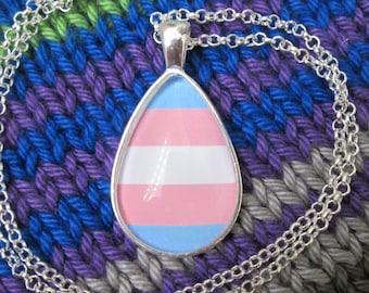Transgender Pride - Trans Pride Flag Pendant Necklace - Silver Teardrop