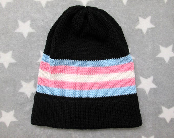 Knit Pride Hat - Trans Pride - Black Slouchy Beanie - Acrylic