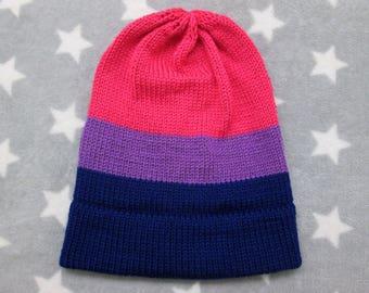 Knit Pride Hat - Bi Pride - Slouchy Beanie