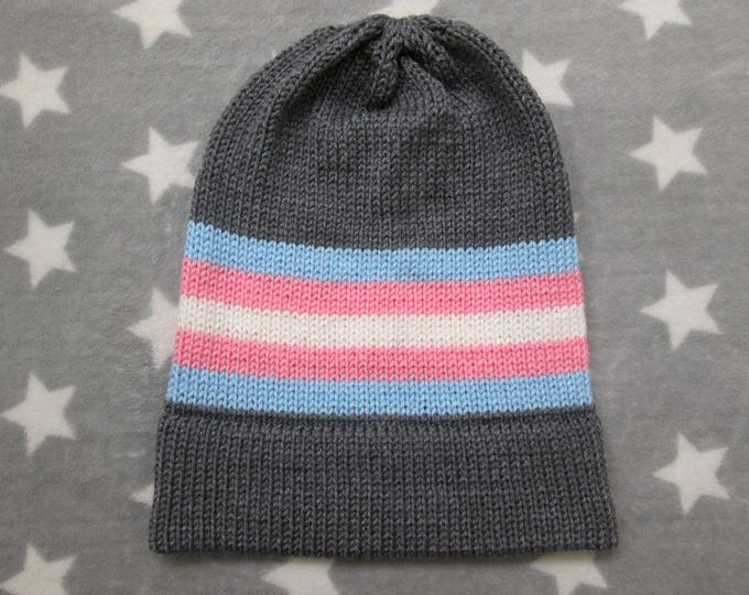 Knit Pride Hat - Trans Pride - Grey Slouchy Beanie - Acrylic