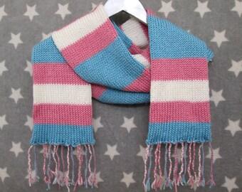 Trans Pride Scarf - Soft Wool Acrylic Blend