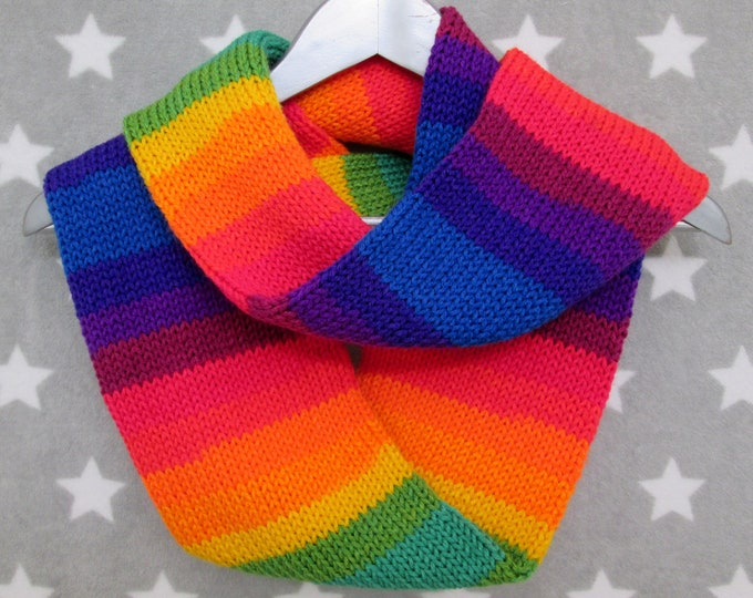 Rainbow Pride Infinity Scarf - LGBT - Vivid Mirrored Stripe Scarf - Acrylic