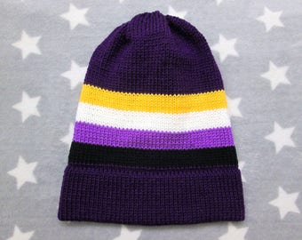 Knit Pride Hat - Nonbinary Pride - Purple Slouchy Beanie - Acrylic