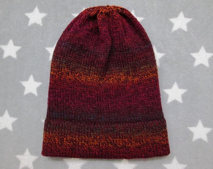 Knit Hat - Gradient - Deep Red & Rainbow - Slouchy Beanie - Acrylic