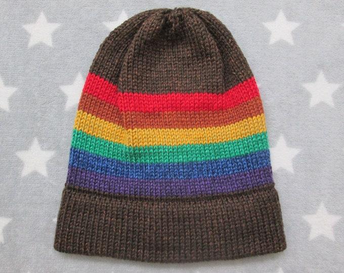 Knit Pride Hat - LGBT Rainbow - Heathered Brown - Slouchy Beanie