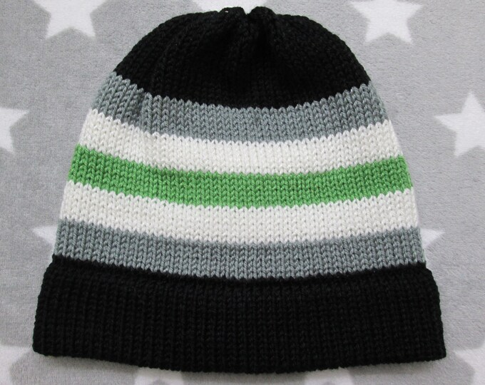 Knit Pride Hat - Agender Pride - Fitted Beanie - Acrylic