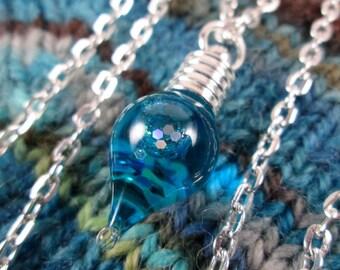 Glitter Liquid Necklace - Small Blue Teardrop - Silver Chain