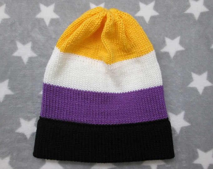 Knit Pride Hat - Nonbinary Pride - Slouchy Beanie - Acrylic