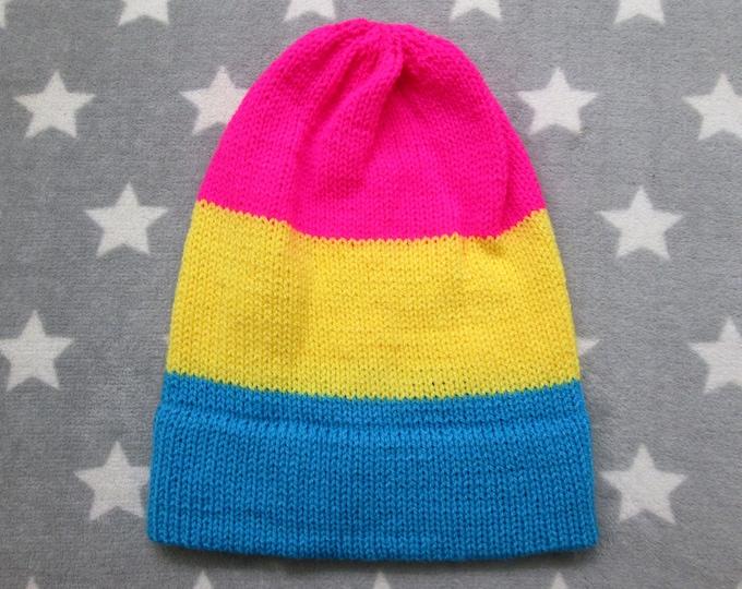 Knit Pride Hat - Pan Pride - Slouchy Beanie - Neon