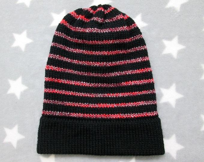 Knit Slouchy Hat - Black & Red Glitter Stripes - Acrylic