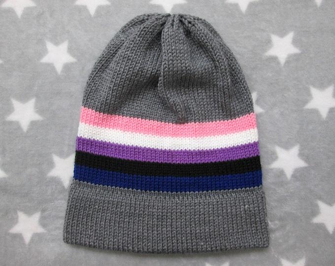 Knit Pride Hat - Genderfluid Pride - Grey Slouchy Beanie