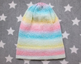 Knit Hat - Pastel Gradient - Pink Yellow Green Blue White - Slouchy Beanie - Acrylic