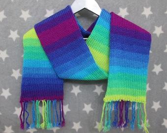 Knit Scarf - Cool Neon Sunset Stripe Scarf - Acrylic