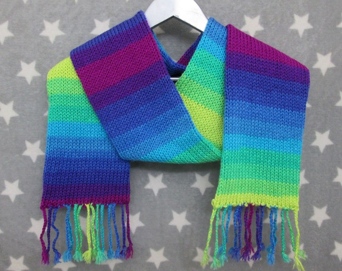 Knit Scarf - Cool Neon Sunset Stripe Scarf - Acrylic