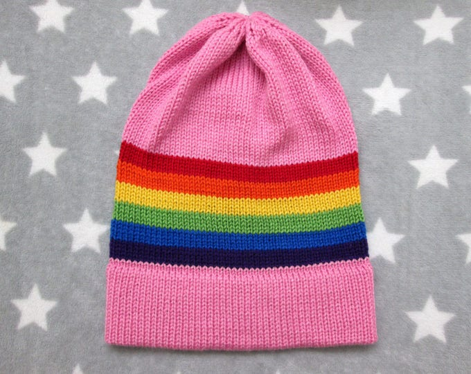 Knit Pride Hat - LGBT Rainbow - Pink - Slouchy Beanie - Acrylic