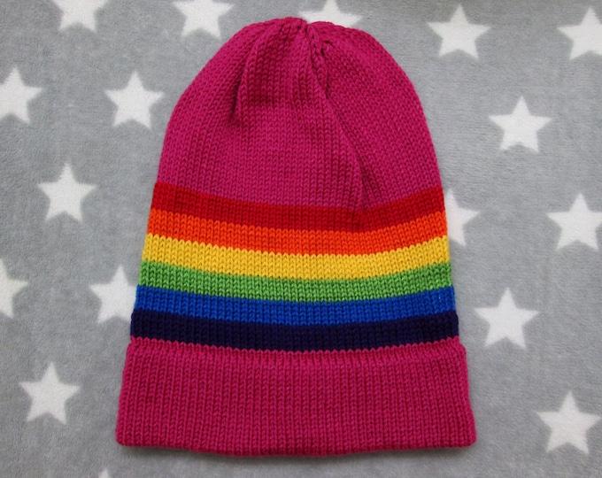Knit Pride Hat - LGBT Rainbow - Dark Pink - Slouchy Beanie - Acrylic