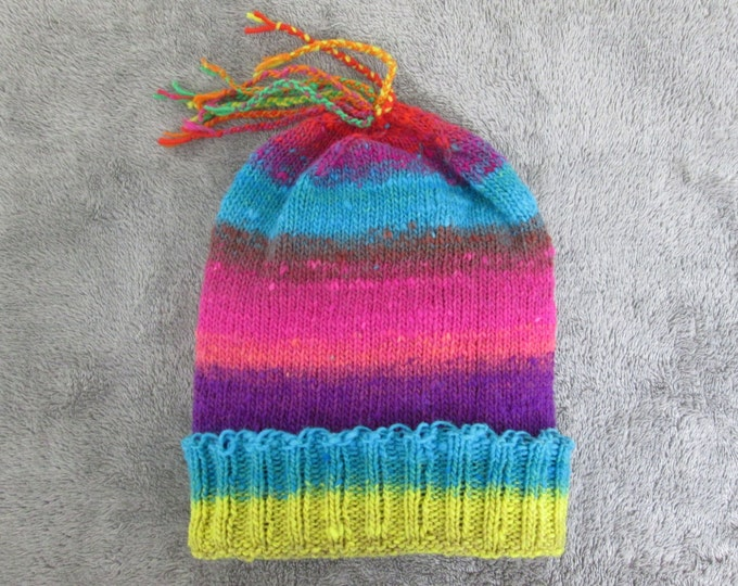 Knit Slouchy Noro Hat - Bright Colors - Wool