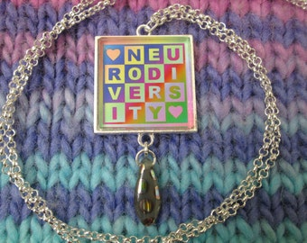 Neurodiversity Necklace - Light Rainbow - Square Checker Design with Bead