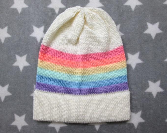 Knit Pride Hat - Pastel LGBT Rainbow - White - Slouchy Beanie - Acrylic