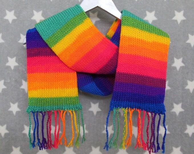Rainbow Pride Scarf - LGBT - Vivid Mirrored Stripe Scarf - Acrylic