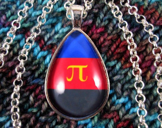 Polyamory Pride - Poly Pride Flag Pendant Necklace - Silver Teardrop