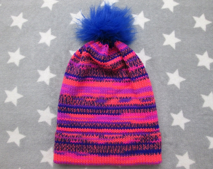 Knit Hat - Neon Pink & Blue Chaos - Slouchy Beanie with Pom-Pom