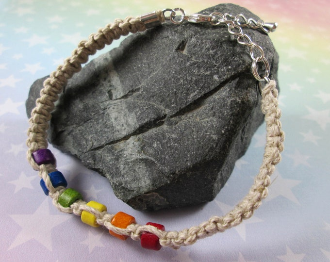 Hemp Pride Bracelet - LGBT Rainbow Pride - Tan - Ceramic Beads