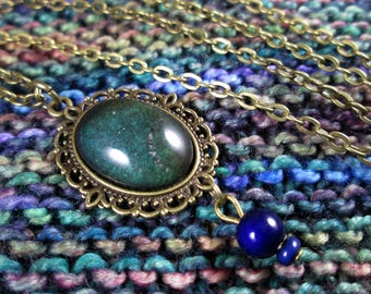 Mood Stone Necklace - Color Changing - Vintage Mood Stone with Mood Beads - Bronze
