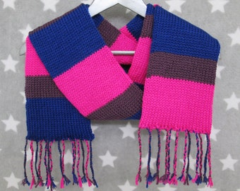 DISCOUNT - READ DESCRIPTION - Bi Pride Scarf - Soft Wool Acrylic Blend