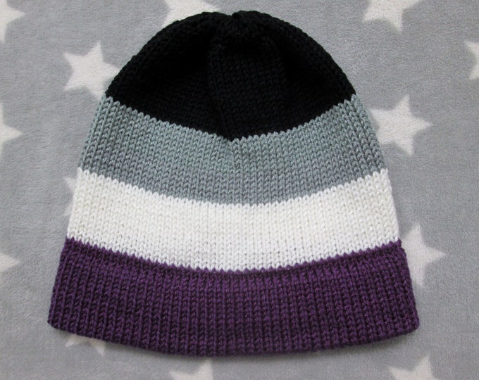 Knit Pride Hat - Ace Pride - Fitted Beanie