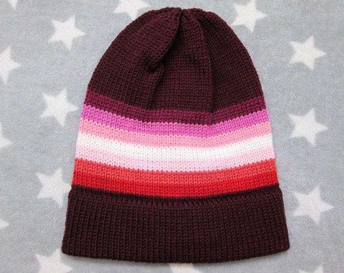 Knit Pride Hat - Lesbian Pride - Dark Red - Slouchy Beanie - Acrylic