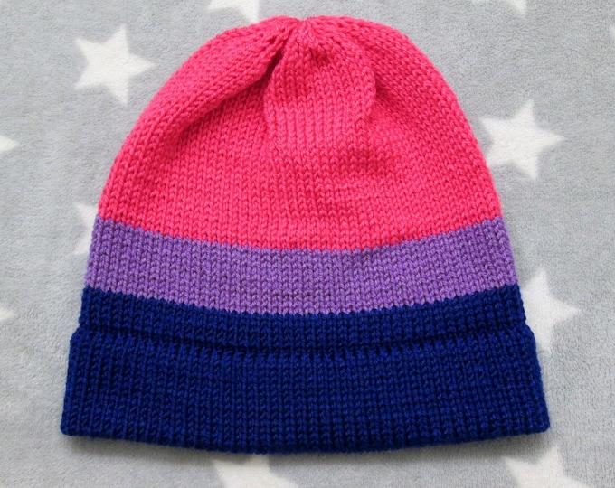 Knit Pride Hat - Bi Pride - Fitted Beanie
