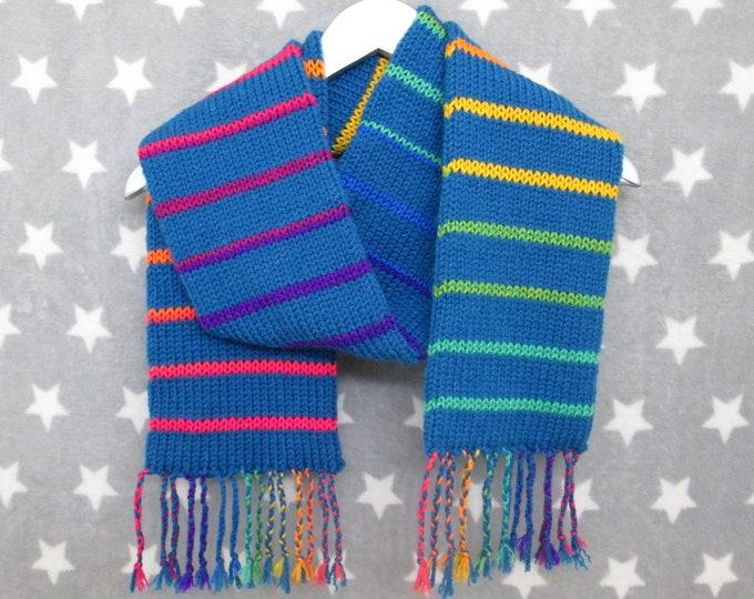 Rainbow Scarf - Turquoise With Rainbow Stripes - Acrylic