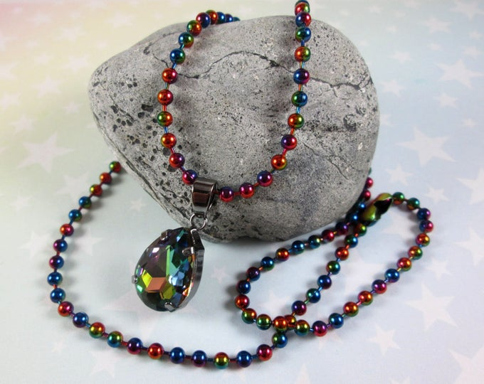 Rhinestone Crystal Necklace - Super Rainbow! - Rainbow Vitrail Teardrop & Rainbow Ball Chain
