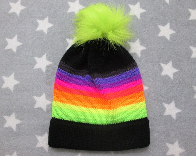 Knit Hat - Warm Neon Sunset - Black - Slouchy Beanie with Pom-Pom