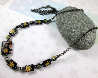 Outer Space Millefiori Necklace - Yellow & Black