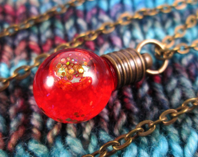 Glitter Liquid Necklace - Small Red Globe - Bronze Chain