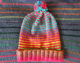 Knit Slouchy Noro Hat - Bright Rainbow Stripes - Wool