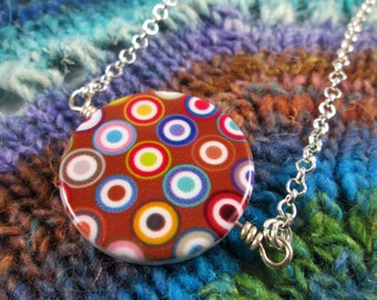 Spinner Pendant Necklace - Colorful Dots & Brown - Long Chain