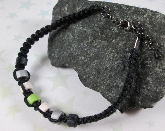 Hemp Pride Bracelet - Agender Pride - Black - Ceramic Beads