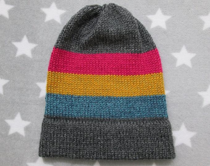 Knit Pride Hat - Pan Pride - Heathered Dark Grey - Slouchy Beanie - Acrylic