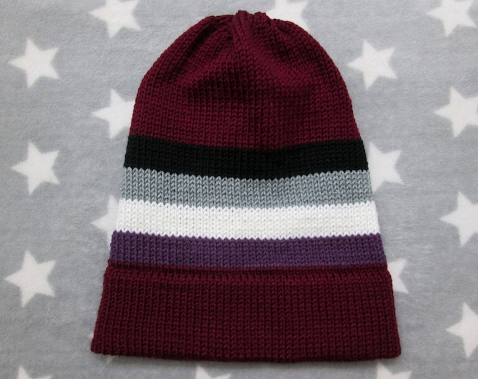 Knit Pride Hat - Ace Pride - Wine Red - Slouchy Beanie - Acrylic