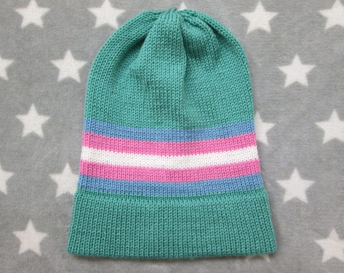 Knit Pride Hat - Trans Pride - Sea Green - Slouchy Beanie