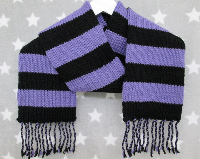 Knit Scarf - Lavender & Black Stripes - Wide Stripes