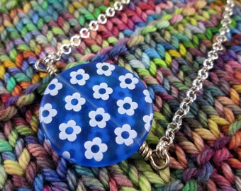 Spinner Pendant Necklace - Blue Flowers - Long Chain